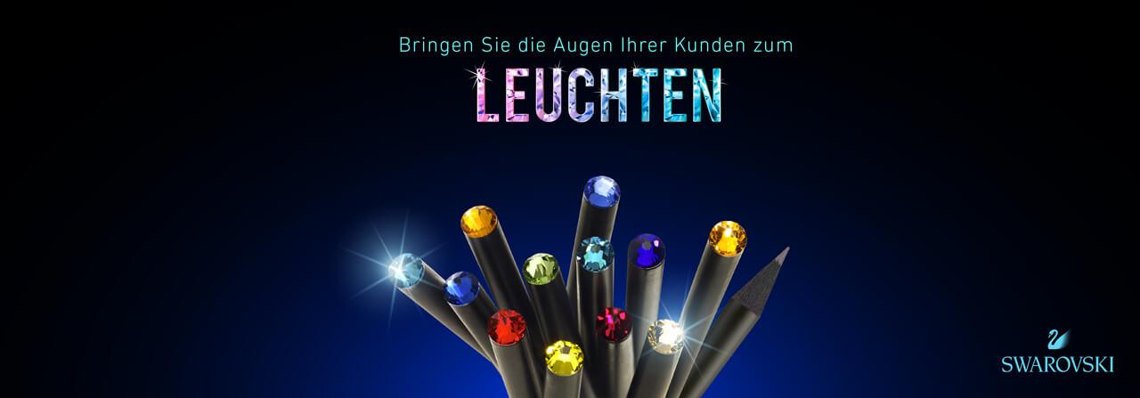 Bringen Sie die Augen Ihrer Kunden wieder zum leuchten: mit Bleistiften mit funkelnden Kristallen von Swarovski®