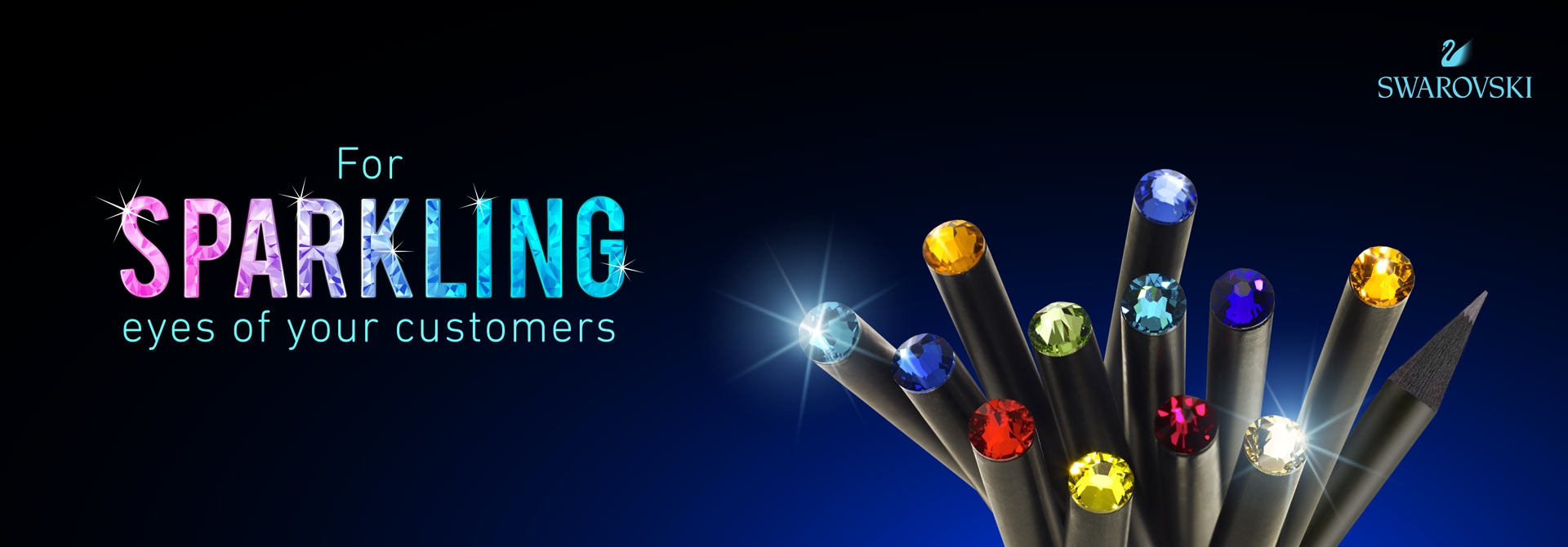For sparkling eyes of your customers: pencils with glittering crystals from Swarovski®