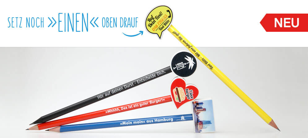 Aufsteck Radiergummi in 4 Formen auf bedruckten Bleistiften